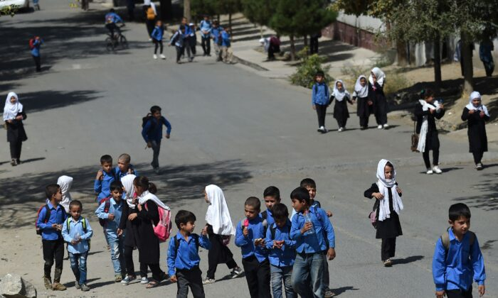 Students are seen in Kabul, Afghanistan, on Sept. 14, 2021. (Wakil Kohsar/AFP via Getty Images)