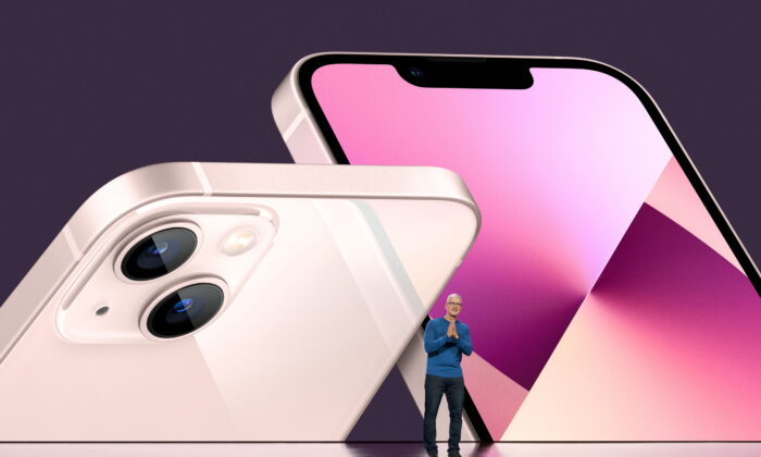 Apple CEO Tim Cook unveils the new iPhone 13 during a special event at Apple Park in Cupertino, Calif., on Sept. 14, 2021. (Brooks Kraft/Apple Inc/Handout via Reuters)