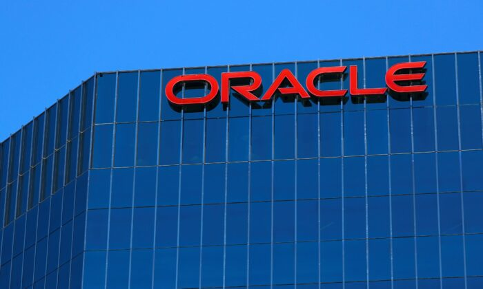 The Oracle logo is shown on an office building in Irvine, Calif., on June 28, 2018. (Mike Blake/Reuters)