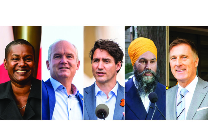(L-R) Green Party Leader Annamie Paul, Conservative Party Leader Erin O'Toole, Liberal Party Leader Justin Trudeau, NDP Leader Jagmeet Singh, and People's Party Leader Maxime Bernier. (The Canadian Press/ Edited by The Epoch Times)