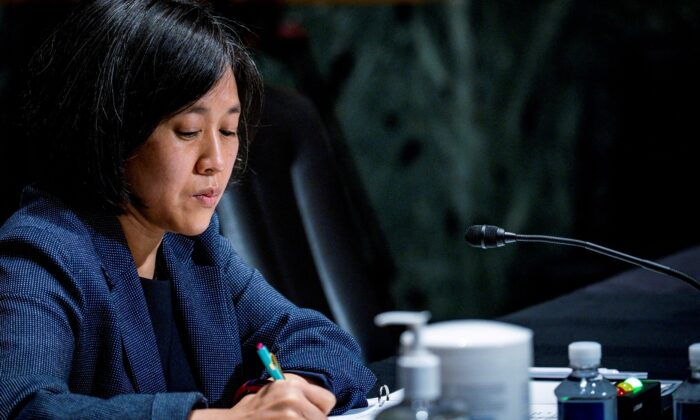 U.S. Trade Representative Katherine Tai testifies before the Senate Finance Committee on Capitol Hill in Washington on May 12, 2021. (Pete Marovich/Pool via Reuters)