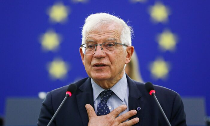 EU Foreign Policy Chief Josep Borrell delivers a speech on the situation in Afghanistan during a plenary session at the European Parliament in Strasbourg, France, on Sept. 14, 2021. (Julien Warnand/Pool via Reuters)