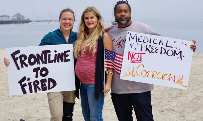 Employees from Community Hospital of the Monterey Peninsula (L to R) Christy Kinkade, Elisabeth Sims, and Raynald Adams at a protest in Monterey, Calif. on Sept. 12, 2021. (Courtesy Patriot Freedom Fighters)