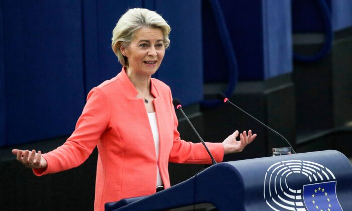 """European Commission President Ursula von der Leyen delivers a speech during a debate on """"The State of the European Union"""" as part of a plenary session in Strasbourg on September 15, 2021. (YVES HERMAN/POOL/AFP via Getty Images)"""