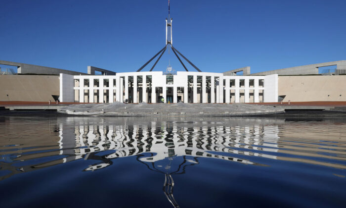 A general view of Parliament House amid lockdown on August 14, 2021 in Canberra, Australia. (Gary Ramage/Getty Images)