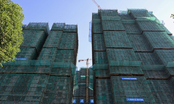 The construction site of an Evergrande housing complex is seen in Zhumadian, central China's Henan Province, on Sept. 14, 2021. (Jade Gao/AFP via Getty Images)