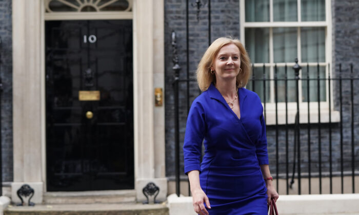 Newly-appointed Foreign Secretary Liz Truss leaves Number 10 Downing Street in London on Sept. 15, 2021. (Stefan Rousseau/PA)