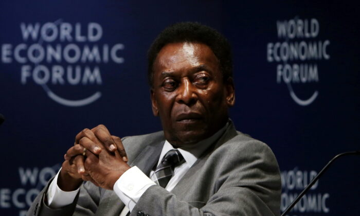 Soccer legend Pele attends the World Economic Forum on Latin America in Sao Paulo during the World Economic Forum on Latin America in Sao Paulo, Brazil, on March 14, 2018. (Paulo Whitaker/Reuters)
