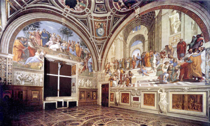 A view of the Stanza della Segnatura, the throne room of Pope Julius II, with frescoes by Raphael. (Public Domain)