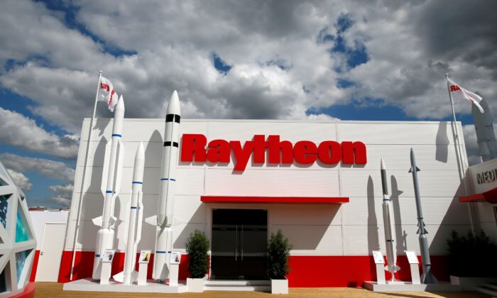 The Raytheon stand is seen at the 53rd International Paris Air Show at Le Bourget Airport near Paris on June 21, 2019. (Pascal Rossignol/Reuters)