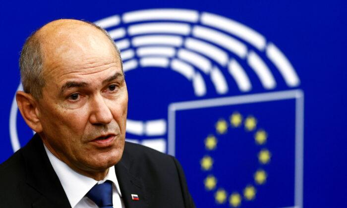 Slovenian Prime Minister Janez Jansa speaks during a news conference in Strasbourg, France, on July 6, 2021. (Christian Hartmann/Pool/Reuters)