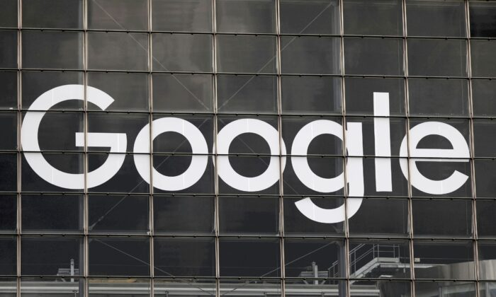 The logo of Google is seen on a building at La Defense business and financial district in Courbevoie near Paris, France on Sept. 1, 2020. (Charles Platiau/Reuters)