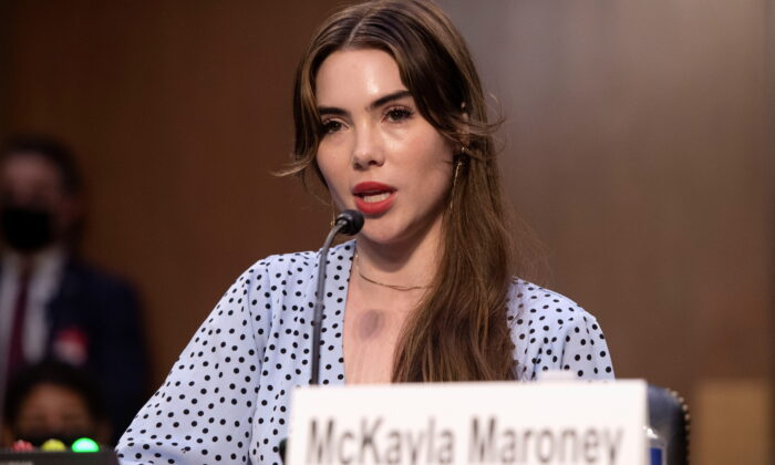 U.S. Olympic gymnast McKayla Maroney testifies during a Senate Judiciary hearing about the Inspector General's report on the FBI handling of the Larry Nassar investigation of sexual abuse of Olympic gymnasts, on Capitol Hill, in Washington on Sept. 15, 2021. (Saul Loeb/Pool via Reuters)