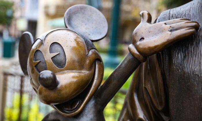 A statue of Mickey Mouse at Disneyland  California Adventure themepark in Anaheim, Calif., on Feb. 1, 2021. (John Fredricks/The Epoch Times)