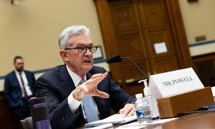 Federal Reserve Board Chairman Jerome Powell testifies at a House Coronavirus Subcommittee hearing on the Federal Reserve's response to the Coronavirus Pandemic on Capitol Hill in Washington, on June 22, 2021. (Graeme Jennings-Pool/Getty Images)