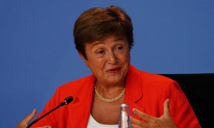 Managing Director of the International Monetary Fund (IMF) Kristalina Georgieva speaks during a press conference as she meets with economic and financial organizations in Berlin at the German chancellery on Aug. 26, 2021 in Berlin, Germany. (Clemens Bilan - Pool/Getty Images)