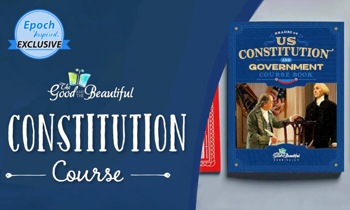 """""""U.S. Constitution and Government"""" course books for children in grades 4–6 by The Good and the Beautiful. (Courtesy of Jenny Phillips/The Good and the Beautiful)"""