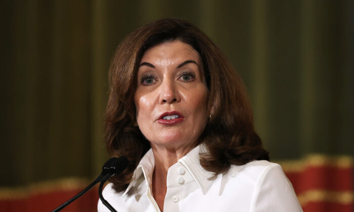 New York Gov. Kathy Hochul speaks at the New York State Capitol in Albany, N.Y., on Aug. 24, 2021. (Michael M. Santiago/Getty Images)