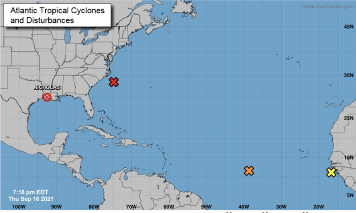 A map showing three disturbances in the Atlantic on Sept. 16, 2021, at 7:18 p.m. ET. (National Hurricane Center)