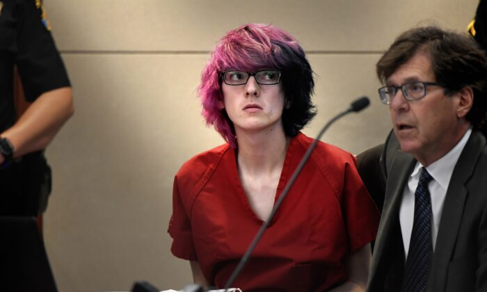 Devon Erickson appears in court at the Douglas County Courthouse in Castle Rock, Colo., on May 15, 2019. (Joe Amon/The Denver Post via AP, Pool)