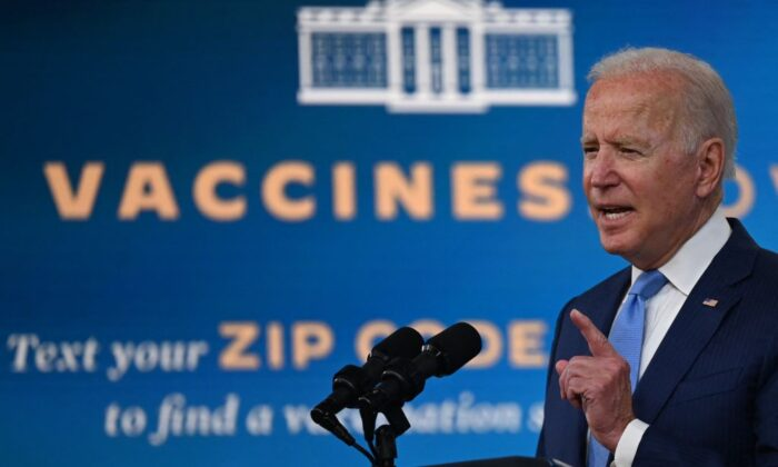 President Joe Biden delivers remarks on the COVID-19 response and the vaccination program at the White House, on Aug. 23, 2021. (Jim Watson/AFP via Getty Images)