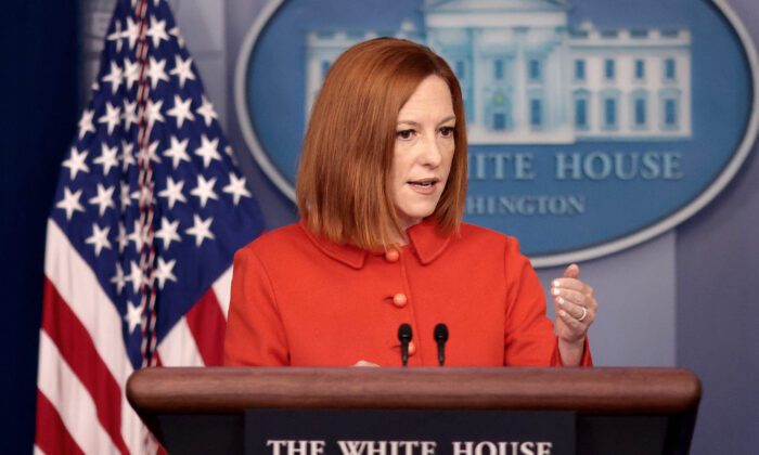 White House press secretary Jen Psaki answers questions in the White House press briefing room in Washington, on Sept. 15, 2021. (Win McNamee/Getty Images)