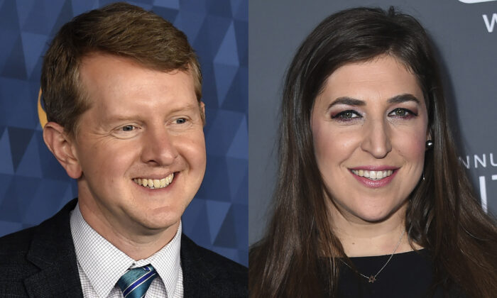(Left) Ken Jennings appears at the 2020 ABC Television Critics Association Winter Press Tour in Pasadena, Calif., on  Jan. 8, 2020. (Right) Actress Mayim Bialik appears at the 23rd annual Critics' Choice Awards in Santa Monica, Calif., on Jan. 11, 2018. (AP Photo)