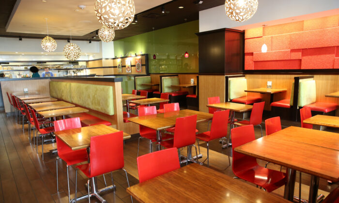 The Veggie Grill restaurant is empty in downtown Seattle, Wash., on March 16, 2020. (Karen Ducey/Getty Images)