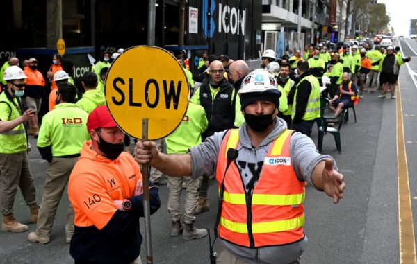 construction worker protest