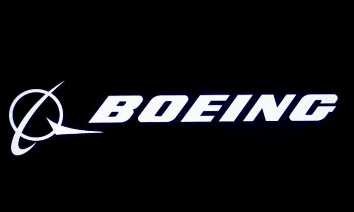 Boeing logo is displayed on a screen at the New York Stock Exchange (NYSE) in New York, on Aug. 7, 2019. (Brendan McDermid/Reuters)