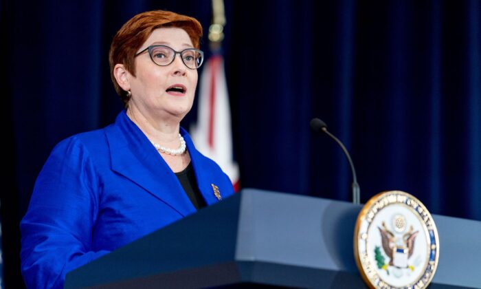 Australian Foreign Minister Marise Payne speaks during a news conference with Australian Minister of Defense Peter Dutton, US Secretary of State Antony Blinken, and US Defense Secretary Lloyd Austin  at the State Department in Washington, DC on Sept. 16, 2021. (Andrew Harnik / POOL / AFP via Getty Images)