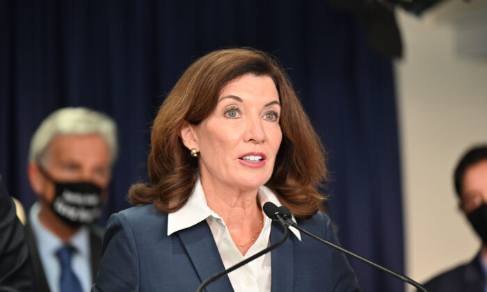 New York Gov. Kathy Hochul speaks at a signing ceremony of the Less Is More Act, in New York on Sept. 17, 2021. (Kevin P. Coughlin/Office of the Governor)