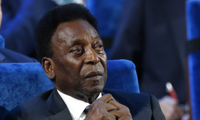 A file photo of Brazilian soccer legend Pele at the 2018 soccer World Cup draw in the Kremlin in Moscow on Dec. 1, 2017. (Alexander Zemlianichenko, File/AP Photo)