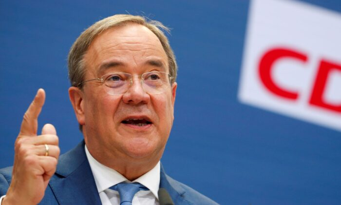 Christian Democratic Union (CDU) candidate for chancellor Armin Laschet holds a news conference in Berlin, Germany on Sept. 13, 2021. (Michele Tantussi/Reuters)