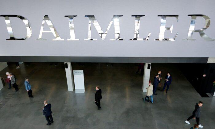 The Daimler logo is seen before the Daimler annual shareholder meeting in Berlin, Germany on April 5, 2018. (Hannibal Hanschke/Reuters)