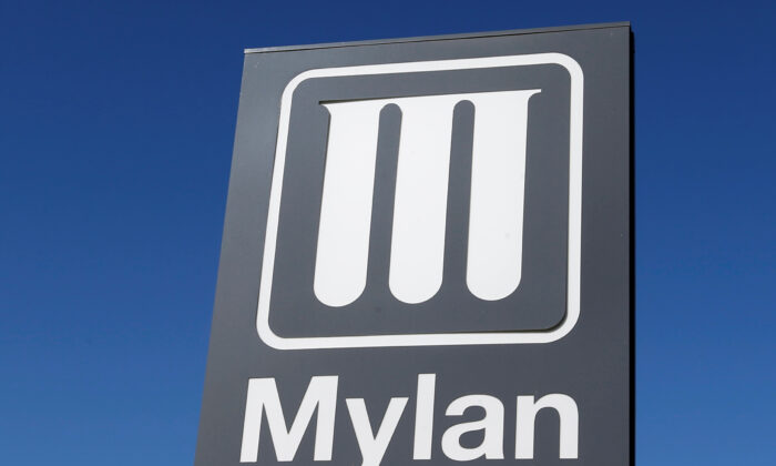 Logo of Mylan Laboratories, a company primarily engaged in the commercialization of generic drugs, is pictured in Merignac near Bordeaux, France on Sept. 19, 2019. (Regis Duvignau/Reuters)