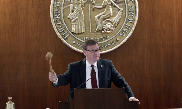 North Carolina House Speaker Tim Moore gavels in a session in Raleigh, N.C., on April 30, 2020. (Gerry Broome/AP Photo)