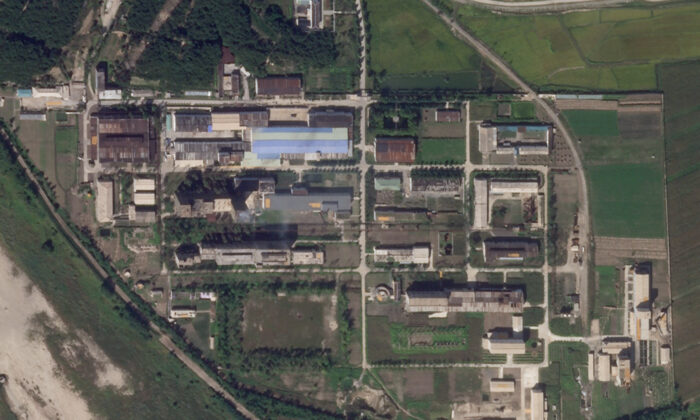 This satellite photo from Planet Labs Inc., a uranium enrichment plant is seen at North Korea's main Yongbyon nuclear complex, Sept. 18, 2021. (Planet Labs Inc. via AP)