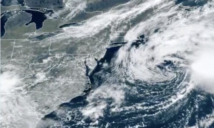 A satellite view of Tropical Storm Odette over the Atlantic Ocean on the morning of Sept. 18, 2021. (NOAA)