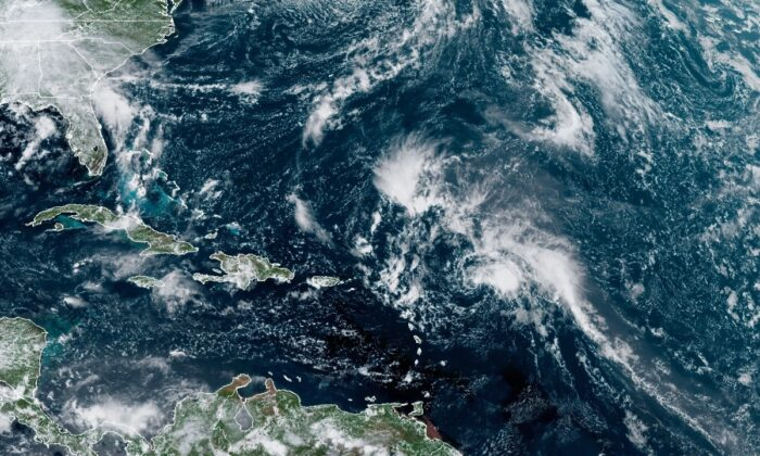 A satellite view of Tropical Storm Peter over the Atlantic Ocean at 1:40 p.m. ET on Sept. 19, 2021. (NOAA)