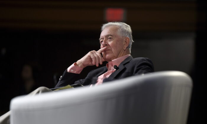Preston Manning, founder of the Manning Centre, listens during the Manning Networking Conference in Ottawa on March 22, 2019. (The Canadian Press/Justin Tang)