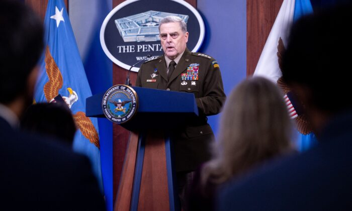 U.S. Army General Mark Milley, Chairman of the Joint Chiefs of Staff, holds a press briefing about the U.S. military drawdown in Afghanistan, at the Pentagon in Washington, on Sept. 1, 2021. (Saul Loeb/AFP via Getty Images)