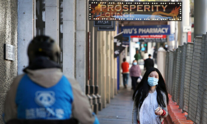Pedestrians move along George Street in Sydney, Australia, on Sept. 16, 2021. (Lisa Maree Williams/Getty Images)