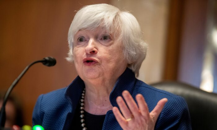 Treasury Secretary Janet Yellen testifies before the Senate Appropriations Subcommittee on Financial Services about the FY22 Treasury budget request on Capitol Hill, in Washington on June 23, 2021. (Shawn Thew/Pool via Reuters)