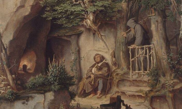 """A detail from """"A Player With a Hermit,"""" circa 1846, by Moritz von Schwind. Oil on cardboard, 24 inches by 18 inches. New Pinacotheca, Munich, Germany. (CC BY-SA 4.0)"""