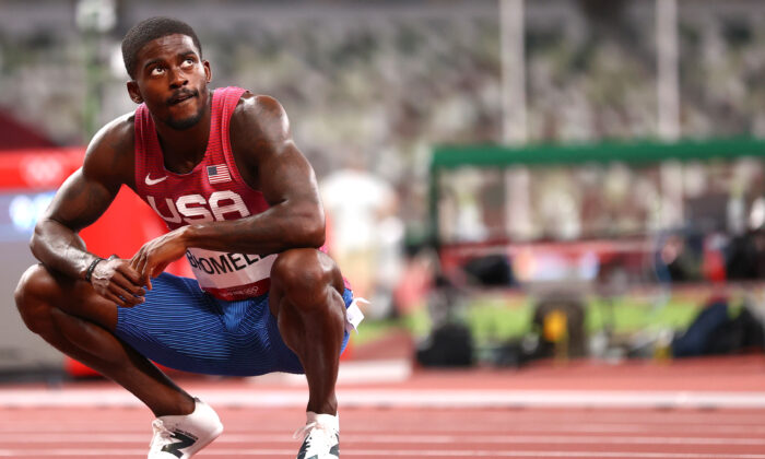 Trayvon Bromell of the United States after the men's 100m semifinal race at the Tokyo 2020 Olympics in Tokyo, Japan, on Aug. 1, 2021. (Andrew Boyers/Reuters)