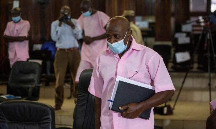 Paul Rusesabagina attends a court hearing in Kigali, Rwanda, on Feb. 26, 2021. (Muhizi Olivier/AP Photo)