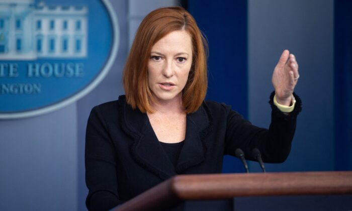 White House press secretary Jen Psaki holds a press briefing in the Brady Press Briefing Room of the White House in Washington, on Sept. 20, 2021. (Saul Loeb/AFP via Getty Images)
