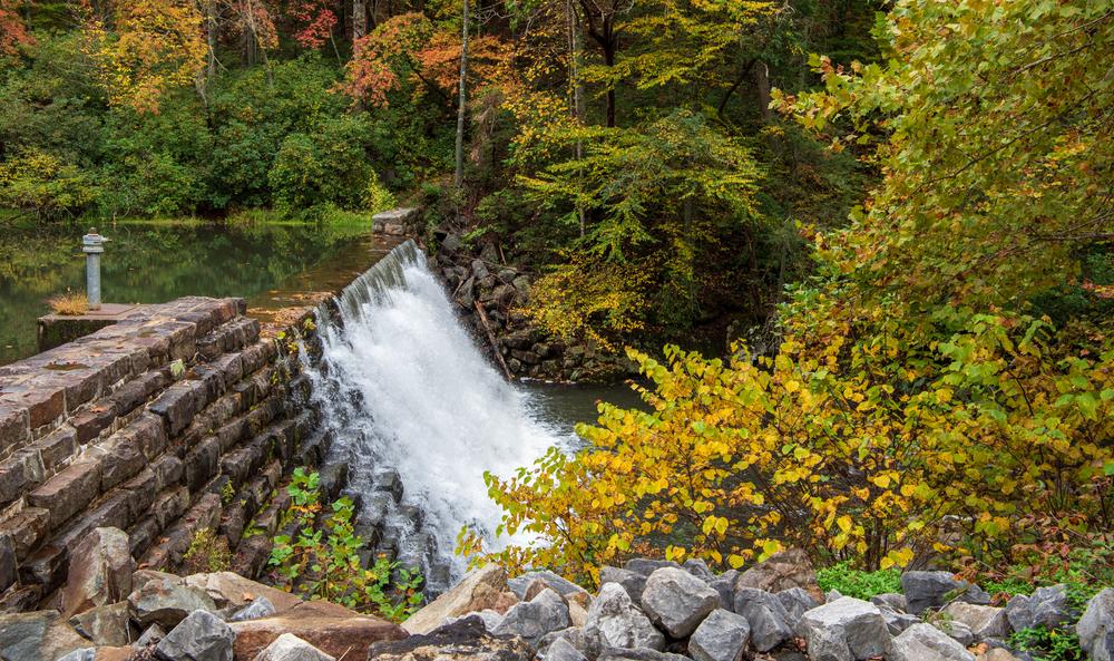 Otter,Lake,Waterfall,Along,The,Blue,Ridge,Parkway,,Milepost,63.1,