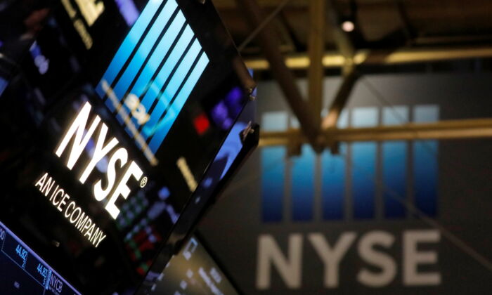 Signage on the trading floor at the New York Stock Exchange in Manhattan, New York, on Aug. 4, 2021. (Andrew Kelly/Reuters)